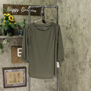 NEW Maternity 3/4 Sleeve Sandwashed Top XL Olive